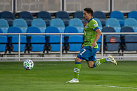 SAN JOSE, CA - OCTOBER 18: Cristian Roldan #7 of the Seattle Sounders dribbles the ball during a game between Seattle Sounders FC and San Jose Earthquakes at Earthquakes Stadium on October 18, 2020 in San Jose, California.
