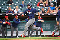 Lehigh Valley IronPigs designated hitter Darin Ruf (28) running the bases during a game against the Buffalo Bisons on July 9, 2016 at Coca-Cola Field in Buffalo, New York.  Lehigh Valley defeated Buffalo 9-1 in a rain shortened game.  (Mike Janes/Four Seam Images)
