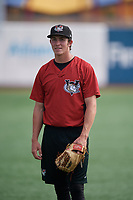 Tri-City ValleyCats Danny Cody (15) during warmups before a NY-Penn League game against the Brooklyn Cyclones on August 17, 2019 at MCU Park in Brooklyn, New York.  Brooklyn defeated Tri-City 2-1.  (Mike Janes/Four Seam Images)