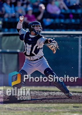 19 June 2018: Connecticut Tigers catcher Gresuan Silverio in action against the Vermont Lake Monsters at Centennial Field in Burlington, Vermont. The Lake Monsters defeated the Tigers 5-4 in the rain-postponed conclusion of the Lake Monsters Opening Day game started June 18. Mandatory Credit: Ed Wolfstein Photo *** RAW (NEF) Image File Available ***
