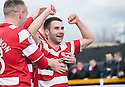Hamilton's James Keatings celebrates after he scores their second goal.