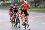 The breakaway group featuring Boris Vallée (BEL) Lotto Soudal, Carlos Quintero (COL) Colombia and Eduard Grosu (ROU) Nippo-Vini Fantini during Stage 8 of the 2015 Presidential Tour of Turkey running 124km from Istanbul to Istanbul. 3rd May 2015.<br /> Photo: Tour of Turkey/Mario Stiehl/www.newsfile.ie