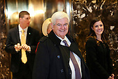 Former Speaker of the United States House of Representatives Newt Gingrich (Republican of Georgia) arrives for a meeting with US President-elect Donald Trump, in the Trump Tower, November 21, 2016, in New York, New York.<br /> Credit: Aude Guerrucci / Pool via CNP