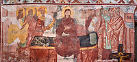 Pictures & images of the Byzantine fresco panels in the Gelati Georgian Orthodox Church of the Virgin, 1106, depicting a scene from the Assumption of the Virgin Mary, Mother of God, into Heaven .  The medieval Gelati monastic complex near Kutaisi in the Imereti region of western Georgia (country). A UNESCO World Heritage Site.