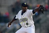 Starting pitcher Tony Dibrell (8) of the Columbia Fireflies delivers a pitch in a game against the Augusta GreenJackets on Opening Day, Thursday, April 5, 2018, at Spirit Communications Park in Columbia, South Carolina. Columbia won, 4-2 and Dibrell struck out six and allowed just one hit in four innings. (Tom Priddy/Four Seam Images)