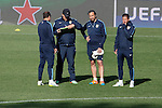 Atletico's coach Diego Simeone (R) and second coach Mono Burgo (2L) during a training session the day before quarterfinal first leg Champions League soccer match against Real Madrid at Vicente Calderon stadium in Madrid, Spain. April 13, 2015. (ALTERPHOTOS/Victor Blanco)