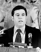 Premier david Barrett of British Columbia goes to Montreal tomorrow to try to convert Parti Quebecois Leader Rene Levesque to the New Democratic Party and away from separatism for Quebec.<br /> <br /> 1973<br /> <br /> <br /> PHOTO : Boris Spremo - Toronto Star Archives - AQP