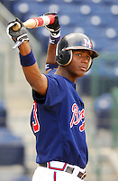 Outfielder Brandon Jones of the Mississippi Braves, the Atlanta Braves' Class AA affiliate of the Southern League, in a game April 24, 2007, against the Birmingham Barons at Trustmark Park in Pearl, Miss. Photo by:  Tom Priddy/Four Seam Images