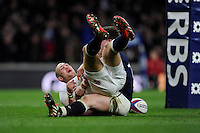 Mike Brown of England scores a try, which was later disallowed