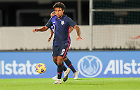 WIENER NEUSTADT, AUSTRIA - NOVEMBER 16: Weston McKennie #8 of the United States looks for an open man during a game between Panama and USMNT at Stadion Wiener Neustadt on November 16, 2020 in Wiener Neustadt, Austria.