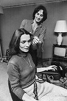 Aspiring actress Margaret Trudeau has her hair styled by hairdresser Michael Kearns.<br /> <br /> Bezant, Graham<br /> Picture, 1977,<br /> <br /> 1976<br /> <br /> PHOTO : Graham Bezant - Toronto Star Archives - AQP