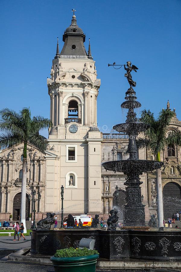 Lima, Peru.  Plaza de Armas Fountain, dating from 1651.
