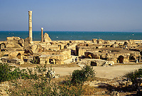 Carthage, Tunisia.  Roman Ruins, Antonin Baths, 2nd. Century A.D.  Bay of Tunis in background.
