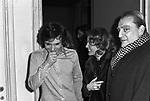 LUCHINO VISCONTI CON MASSIMO RANIERI E ROMY SCHNEIDER<br /> RECITAL DI MASSIMO RANIERI AL TEATRO SISTINA ROMA 1972