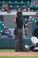 Umpire Malcolm Smith calls a strike during a game between the Jupiter Hammerheads and Lakeland Flying Tigers on July 30, 2021 at Joker Marchant Stadium in Lakeland, Florida.  (Mike Janes/Four Seam Images)