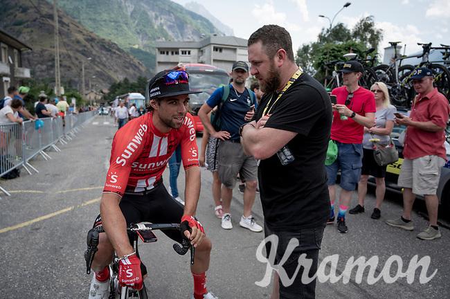 2 Aussies/ 2 'Matthews' at the race start in Saint-Jean-de-Maurienne: Michael Matthews (AUS/Sunweb) & former Milano-Sanremo winner Matthew Goss<br /> <br /> Stage 19: Saint-Jean-de-Maurienne to Tignes(126km)<br /> 106th Tour de France 2019 (2.UWT)<br /> <br /> ©kramon