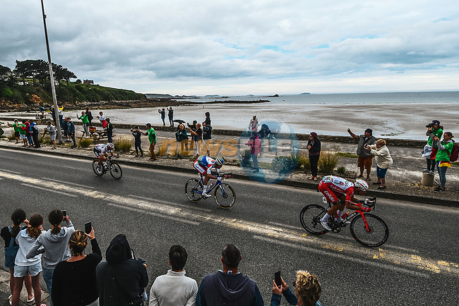 Anthony Perez (FRA) Cofidis, Jérémy Cabot (FRA) TotalEnergies and Ide Schelling (NED) Bora-Hansgrohe from the breakaway ride along the coastline during Stage 2 of the 2021 Tour de France, running 183.5km from Perros-Guirec to Mur-de-Bretagne Guerledan, France. 27th June 2021.  <br /> Picture: A.S.O./Charly Lopez | Cyclefile<br /> <br /> All photos usage must carry mandatory copyright credit (© Cyclefile | A.S.O./Charly Lopez)