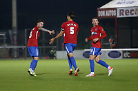 Will Wright of Dagenham and Redbridge scores the second goal for his team and celebrates with his team mates during Dagenham & Redbridge vs Weymouth, Vanarama National League Football at the Chigwell Construction Stadium on 14th September 2021