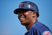 Minnesota Twins first base coach Butch Davis (40) during a Spring Training game against the Baltimore Orioles on March 7, 2016 at Ed Smith Stadium in Sarasota, Florida.  Minnesota defeated Baltimore 3-0.  (Mike Janes/Four Seam Images)