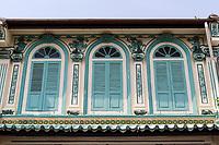 Upper Windows in Old Shophouse, Heeren Street, Melaka, Malaysia.