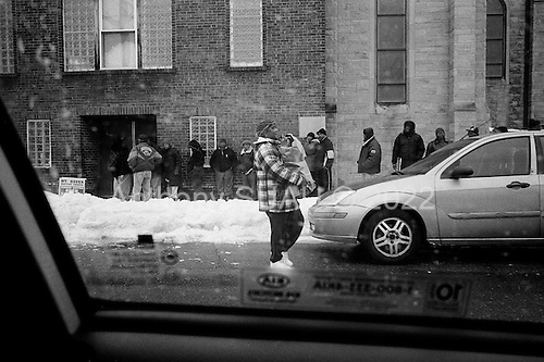 Cleveland, Ohio<br /> March 11, 2008 <br /> <br /> Daily free food distribution at Mount Haven Baptist Church's hunger center in central Cleveland.