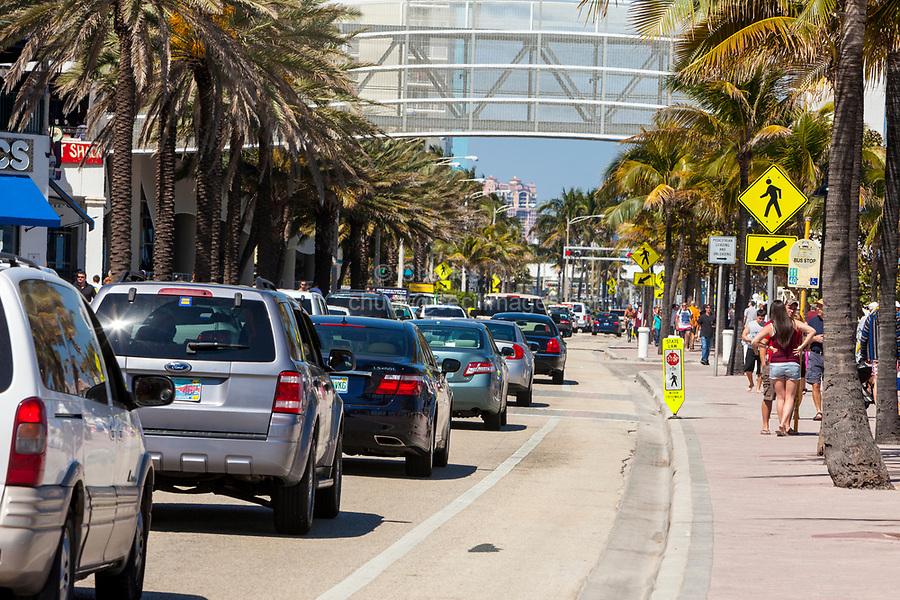 Ft. Lauderdale, Florida.  Street Scene, Seabreeze Blvd., Florida State Highway A1A.