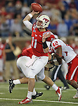 Southern Methodist Mustangs quarterback Garrett Gilbert (11) in action during the game between the University of Houston Cougars and the Southern Methodist Mustangs at the Gerald J. Ford Stadium in Dallas, Texas. SMU leads Houston 28 to 14 at halftime...