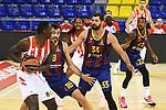 Turkish Airlines Euroleague 2020/2021. <br /> Regular Season-Round 10.<br /> FC Barcelona vs Crvena Zvezda MTS Belgrade: 76-65.<br /> Johnny O'Bryant, Pierre Oriola & Nikola Mirotic.