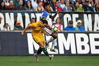 Seattle, WA - Thursday July 27, 2017: Taylor Smith, Alanna Kennedy during a 2017 Tournament of Nations match between the women's national teams of the United States (USA) and Australia (AUS) at CenturyLink Field.