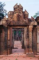 Cambodia, Banteay Srei, Eastern Gopura (Entrance).  Tenth Century A.D.
