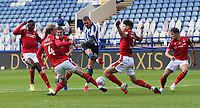 Sheffield Wednesday's Connor Wickham has his late second half strike charged down by Joe Worrall (left) and Tobias Figueiredo<br /> <br /> Photographer Rich Linley/CameraSport<br /> <br /> The EFL Sky Bet Championship - Sheffield Wednesday v Nottingham Forest - Saturday 20th June 2020 - Hillsborough - Sheffield <br /> <br /> World Copyright © 2020 CameraSport. All rights reserved. 43 Linden Ave. Countesthorpe. Leicester. England. LE8 5PG - Tel: +44 (0) 116 277 4147 - admin@camerasport.com - www.camerasport.com