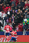 Angel Correa of Atletico de Madrid celebrates his goal with teammate Antoine Griezmann during the La Liga 2017-18 match between Atletico de Madrid and Getafe CF at Wanda Metropolitano on January 06 2018 in Madrid, Spain. Photo by Diego Gonzalez / Power Sport Images