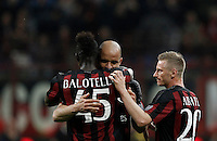 Calcio, Serie A: Milan vs Juventus. Milano, stadio San Siro, 9 aprile 2016. <br /> AC Milan's Alex, center, celebrates with teammates Mario Balotelli, left, and Ignazio Abate, after scoring during the Italian Serie A football match between AC Milan and Juventus at Milan's San Siro stadium, 9 April 2016.<br /> UPDATE IMAGES PRESS/Isabella Bonotto