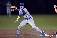 Lakeland Christian Vikings shortstop Jake Fox (2) waits for a throw during a game against the Calvary Christian Warriors on February 27, 2021 at Calvary Christian High School in Clearwater, Florida.  (Mike Janes/Four Seam Images)