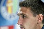 Getafe's Stefan Scepovic in press conference after La Liga match. April 16,2016. (ALTERPHOTOS/Acero)