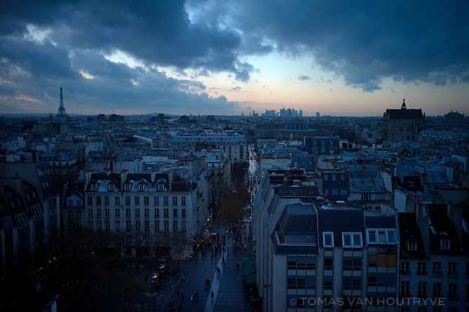 A view of Paris seen from the top of the Centre Pompidou in France on 20 December 2009.