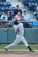 Shane Hoelscher #8 of the Tri-City Dust Devils bats against the Everett AquaSox at Everett Memorial Stadium on July 29, 2014 in Everett, Washington. Everett defeated Tri-City, 7-5. (Larry Goren/Four Seam Images)