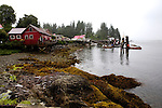 A boardwalk fronts the entire waterfront of the fishing village of Bamfield, located on the south side of Albernie Inlet, Vancouver Island, British Columbia, Canada.  Bordering one unit of Canada's Pacific Rim National Park and surrounded by rain forest.  A Canadian lifeboat station is in the background.