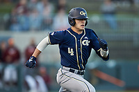 Kevin Parada (4) of the Georgia Tech Yellow Jackets hustles down the first base line against the Virginia Tech Hokies at English Field on April 16, 2021 in Blacksburg, Virginia. (Brian Westerholt/Four Seam Images)