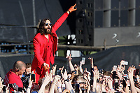 Pictured: Jared Leto of Thirty Second To Mars joins fans. Sunday 27 May 2018<br /> Re: BBC Radio 1 Biggest Weekend at Singleton Park in Swansea, Wales, UK.