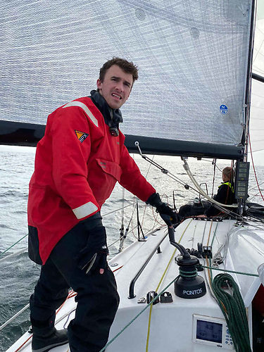 Sam O'Byrne aboard JPK 1080 Rockabill VI in the 2021 D2D with North Sails 3DL Offshore Mainsail   Credit: Marty O'Leary