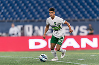 FOXBOROUGH, MA - AUGUST 26: Noah Pilato #20 of Greenville Triumph SC looks to pass during a game between Greenville Triumph SC and New England Revolution II at Gillette Stadium on August 26, 2020 in Foxborough, Massachusetts.