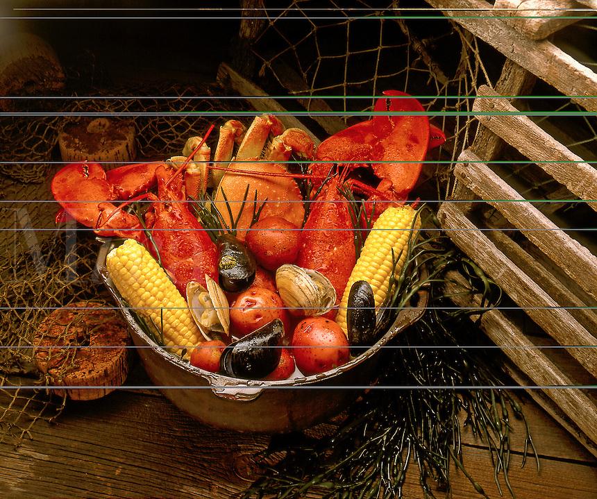 Seafood and corn on the cob.