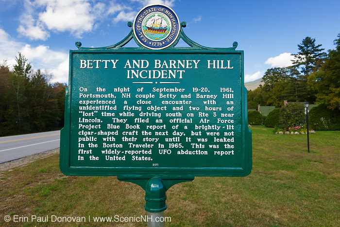 """Betty and Barney Hill Incident marker at Indian Head Resort in Lincoln, New Hampshire. Supposedly, while driving south on Route 3 near Lincoln, on September 19-20, 1961, Betty and Barney Hill had a close encounter with an unidentified flying object (UFO) and two hours of """"lost"""" time. This was the first widely reported UFO abduction report in the United States."""