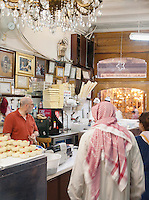 An ice cream and desert shop in the Al-Hamidiyah Souq in Damascus, Syria