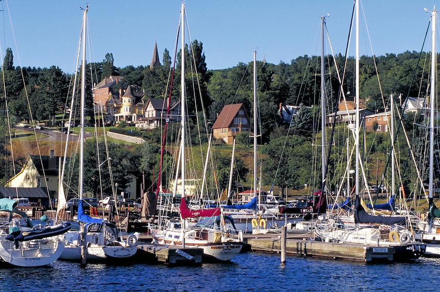 Marina, sailboats, Victorian homes overlooking Bayfield waterfront. Bayfield Wisconsin USA Lake Superior.