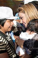 SÃO PAULO, 04 DE AGOSTO 2012 - CAMPANHA CELSO RUSSOMANO. Nani Venancio participa junto com o candidato do PRB a prefeitura de Sao Paulo, Celso Russomanno, da Festa do Povo Boliviano, no Memorial da América Latina, nesse sábado, 04 - FOTO LOLA OLIVEIRA - BRAZIL PHOTO PRESS