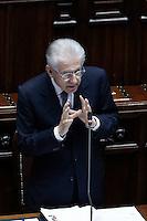 Il presidente del Consiglio Mario Monti.Roma 26/05/2012 Camera dei Deputati - Informativa del Governo sulla politica europea dell'Italia in vista del Consiglio europeo..Foto Serena Cremaschi Insidefoto