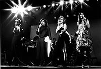1985 File Photo  - DU GRAMOPHONE AU LASER Musical review with (Left to Right) : <br /> Jean-Pierre Ferland,<br /> Marie-Claire Seguin,<br /> Louise Portal,<br /> Nanette WorkmanPHOTO D'ARCHIVE :  Agence Quebec Presse