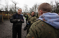 Pictured L-R: Darren Pratley, Ashley Williams and Mark Gower.Tuesday 25 January 2011<br /> Re: Swansea City FC footballers and staff have spend a morning at Teamforce Paintball in Llangyfelach near Swansea south Wales.